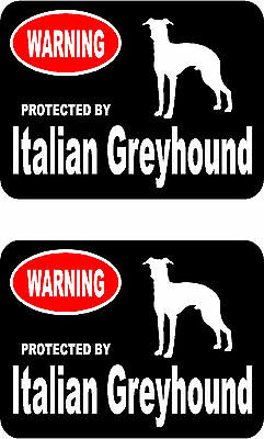 2 protected by Italian Greyhound dog bumper home window vinyl decals stickers