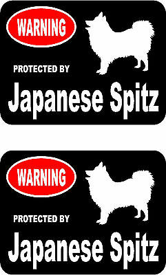 2 protected by Japanese Spitz dog car bumper home window vinyl decals stickers