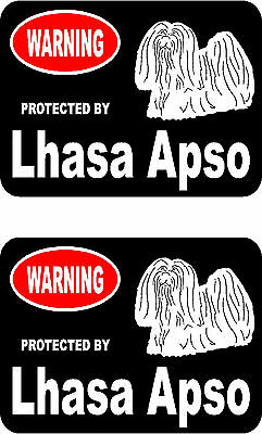 2 protected by Lhasa Apso dog bumper home window vinyl decals stickers