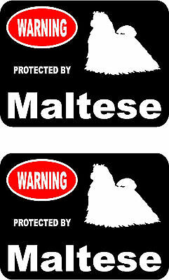 2 protected by Maltese dog car bumper home window vinyl decals stickers