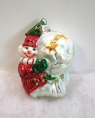 Slavic Treasures Ornament Having A Ball Glass Poland Snowman Moon Star NIB S6