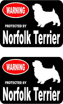 2 protected by Norfolk Terrier dog car bumper home window vinyl decals stickers