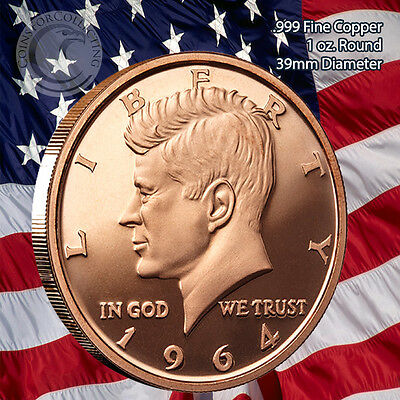 1964 Kennedy Half Dollar 1 oz .999 Copper Round