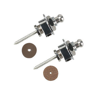 2Pcs Guitar Bass Strap Locks Buttons Schaller Style Chrome Security+Leather Pad