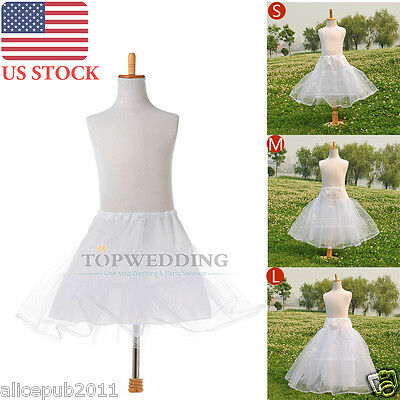 White Flower Girls Petticoat Silps Kids Bridal Crinoline Underskirt (US STOCK)