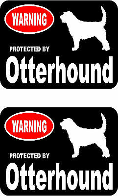 2 protected by Otterhound dog car bumper home window vinyl decals stickers