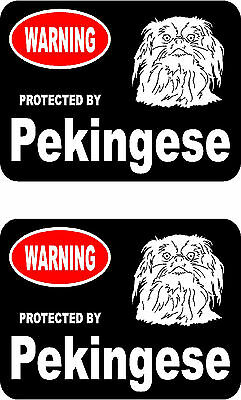 2 protected by Pekingese dog car bumper home window vinyl decals stickers