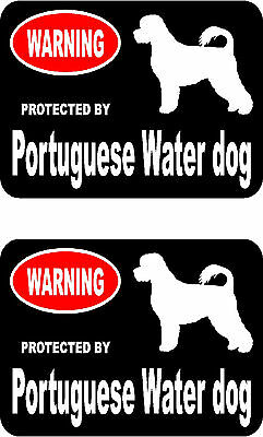 2 protected by Portuguese Water dog car bumper home window vinyl decals stickers