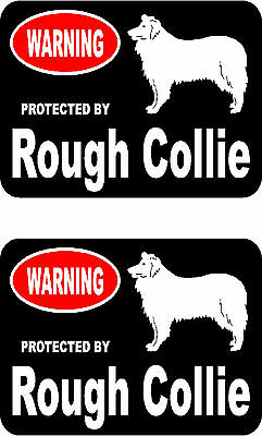 2 protected by Rough Collie dog car bumper home window vinyl decals stickers
