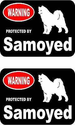 2 protected by Samoyed dog car bumper home window vinyl decals stickers