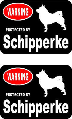 2 protected by Schipperke dog car bumper home window vinyl decals stickers