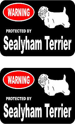2 protected by Sealyham Terrier dog bumper home window vinyl decals stickers