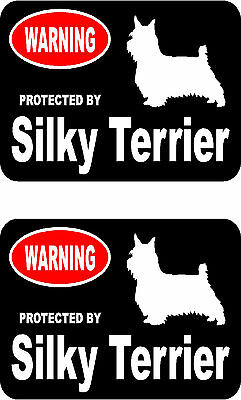 2 protected by Silky Terrier dog car bumper home window vinyl decals stickers