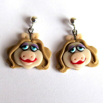 Miss Piggy The Muppet Show Animal Pig Character Toy Earrings Muppets Gift Idea