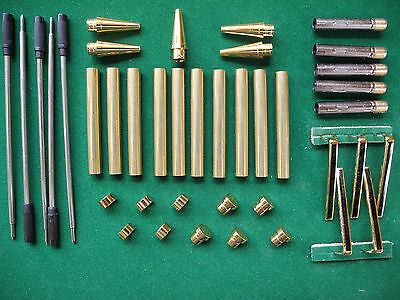 Woodturning Slimline Pen Kits in Gold with Black Stripe on Clip