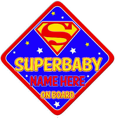 SuperBaby Car Sign Like Baby/Child On Board Bright Blue yellow & red