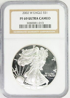 2002 W American Silver Eagle $1 PF 69 Ultra Cameo NGC Graded Coin