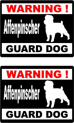 2 Warning Affenpinscher Guard dog car window bumper vinyl decals stickers