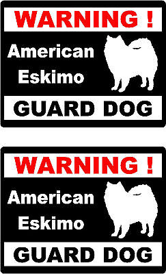 2 warning American Eskimo guard dog car bumper home window vinyl decals stickers