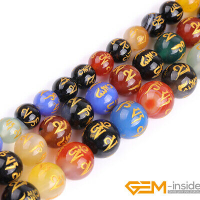 Carved Tibetan Agate Gemstone Round Mala Beads For Jewelry Making Strand 15""
