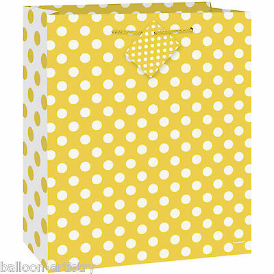 Medium Size YELLOW White Polka Dot Spot Style Party Paper Treat Loot Gift Bag