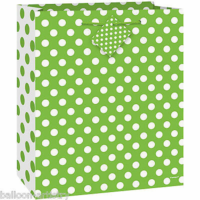 Medium Size GREEN White Polka Dot Spot Style Party Paper Treat Loot Gift Bag