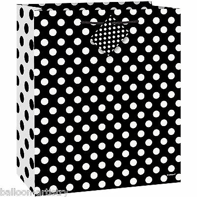 Medium Size BLACK White Polka Dot Spot Style Party Paper Treat Loot Gift Bag