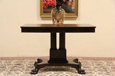 Empire 1900 Antique Hall or Library Table, Lion Paw Feet