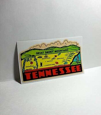 Tennessee Great Smoky Vintage Style Travel Decal, Vinyl Sticker, Luggage Label