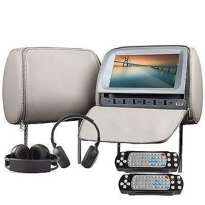 "Dual screen 9""LCD In Car Gray Pillow Headrest DVD Player Monitor Hedphone"