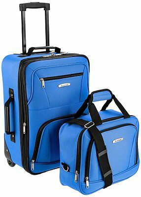 c846861e7 New Blue Rockland 2 Piece Luggage Set Expandable Travel Carry-On Upright 2Pc