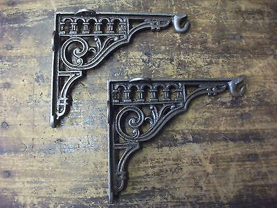 pair ROMAN CAST IRON VICTORIAN SCROLL SHELF BRACKETS HOOKS  ANTIQUE ORNATE(B7