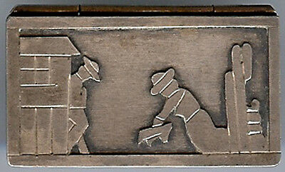 *vintage Mexico Sterling Silver Figural Relief Scene Pill Box*