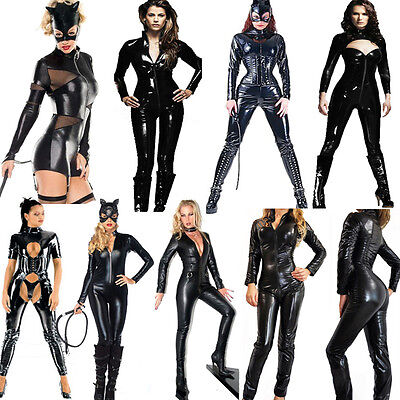 PVC Catsuit Faux Leather Dress Spandex Vinyl Lingerie Bodysuit Jumpsuit Clubwear