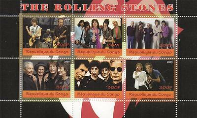 The Rolling Stones Mick Jagger Congo 2009 Miniature Mnh Stamp Sheetlet