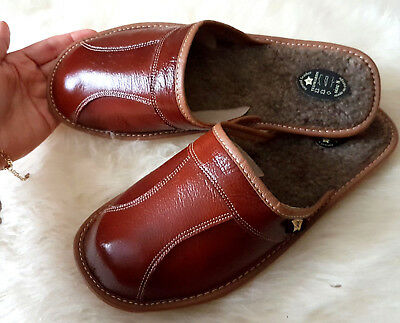 Leather Slippers Shoes 7 8 9 10 11 12 13 14 sheep wool Flip-Flop mule durable