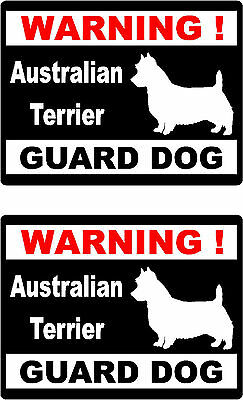 2 warning Australian Terrier guard dog car home window vinyl decals stickers