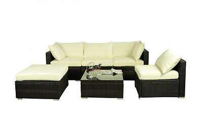 6 pc Outdoor Patio Rattan PE Wicker Sofa Chair Sectional Furniture Seating Set
