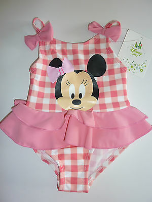 DISNEY So Cute MINNIE MOUSE Pink Checked Swimming Costume NWT