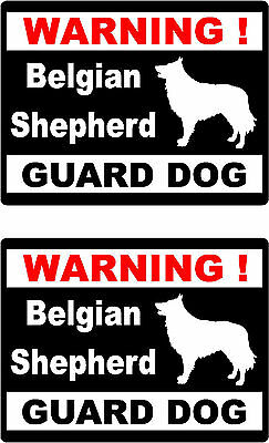 2 warning Belgian Shepherd guard dog bumper home window vinyl decals stickers
