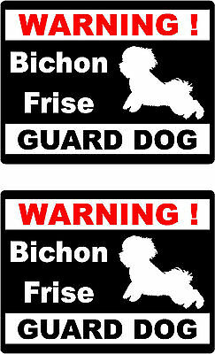 2 warning Bichon Frise guard dog car bumper home window vinyl decals stickers