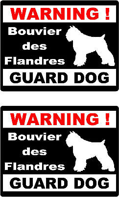 2 warning Bouvier des Flandres guard dog car home window vinyl decals stickers