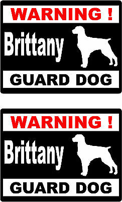 2 warning Brittany guard dog car bumper home window vinyl decals stickers