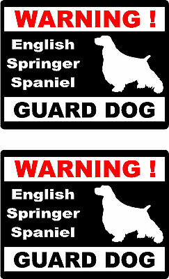 2 warning English Springer Spaniel guard dog home window vinyl decals stickers