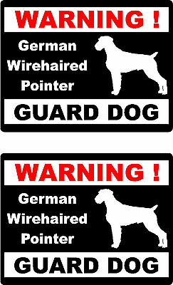 2 warning German Wirehaired Pointer guard dog home window vinyl decals stickers