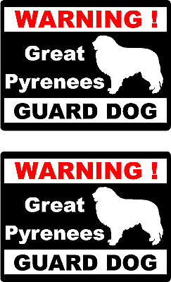 2 warning Great Pyrenees guard dog car bumper home window vinyl decals stickers