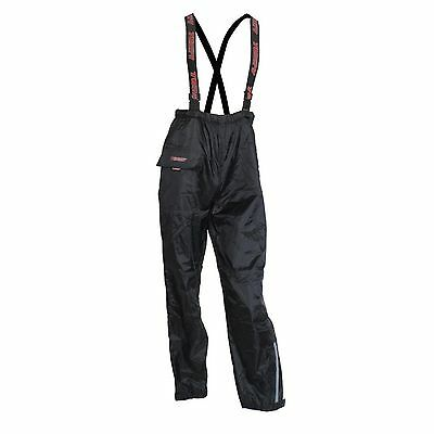 Motorcycle Textile Waterproof Rain Over Pants Trousers With Braces Black Large