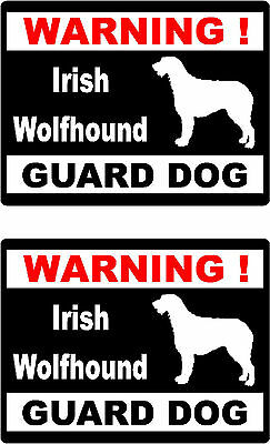 2 warning Irish Wolfhound guard dog car bumper home window vinyl decals stickers