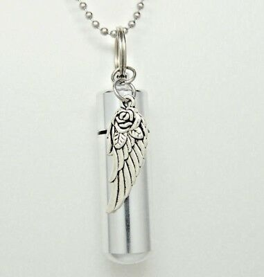Cremation Jewelry, Urn Necklace with Rose and Angel Wing in Stainless Steel