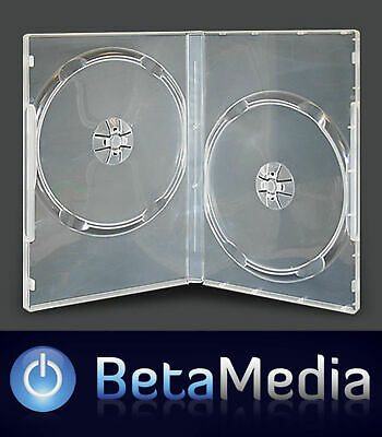 100 x Double Clear 7mm Slim Quality CD DVD Cover Cases - Slimline Size DVD case